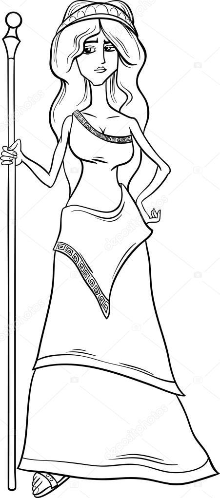 Line Drawing Of Zeus : Diosa griega hera página para colorear — vector de stock