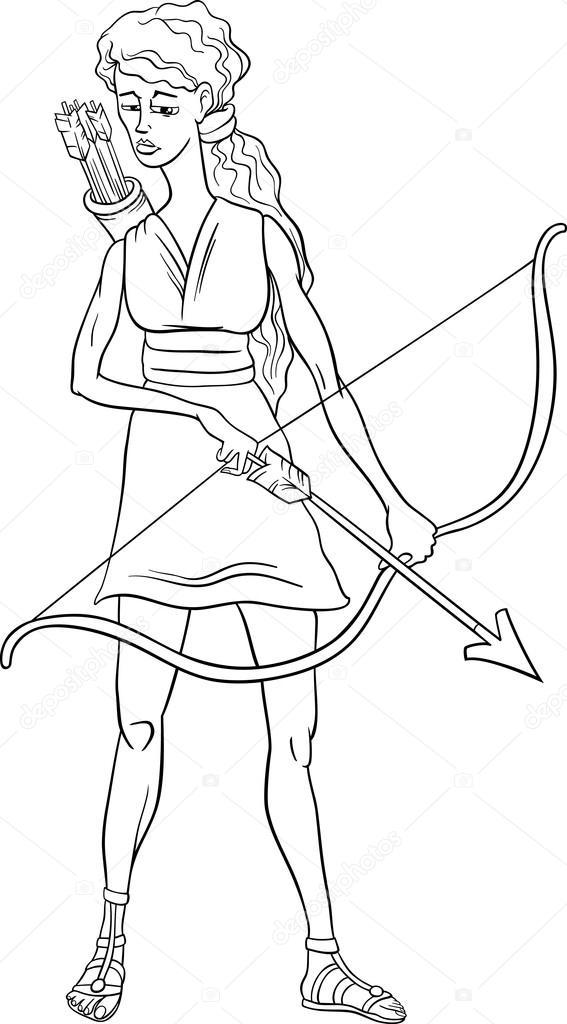 deusa grega artemis colora u00e7 u00e3o p u00e1gina  u2014 vetor de stock