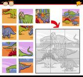 Cartoon dinosaurs jigsaw puzzle game — Stock Vector