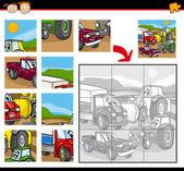 Cartoon vehicles jigsaw puzzle game — Stock Vector