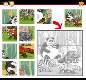 Wild mammals jigsaw puzzle game — Stock Vector