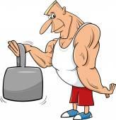 Strong man athlete cartoon illustration — Stock Vector