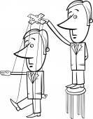 Puppet businessman cartoon illustration — Stock Vector