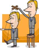 Puppet businessman concept cartoon — Stock Vector
