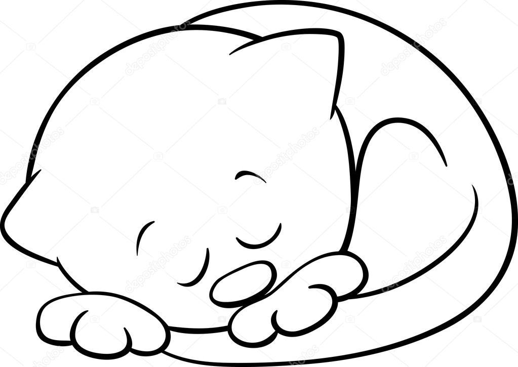 Śpi kot Kolorowanka — Grafika wektorowa © izakowski #77487472