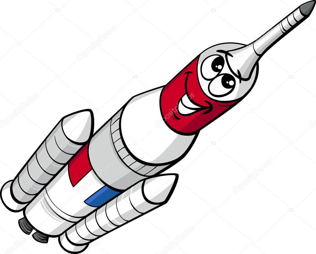 Cohete De Astronauta Y Vintage De Dibujos Animados: Ilustración De Dibujos Animados De Cohete Espacial
