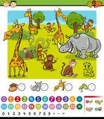 Calculating animals cartoon game — Stock Vector