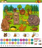 Counting animals cartoon game — Stock Vector