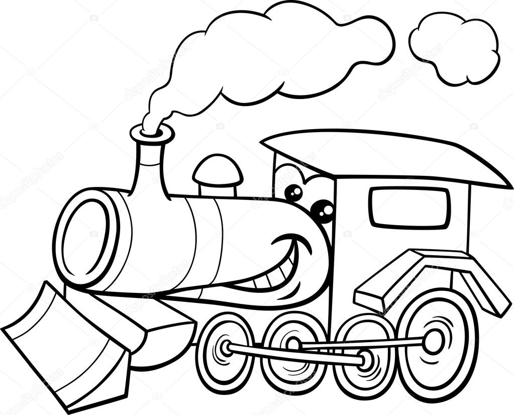 steam engine cartoon coloring page  u2014 stock vector