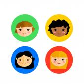 Cute children faces — Stock Vector
