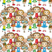 Seamless pattern with children — Stock Vector