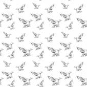 Pattern with origami birds — Vecteur