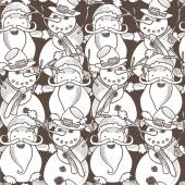 Pattern with Santa Claus, Snowman — Stockvector