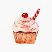 Watercolor cupcake with cherry — Stock Vector