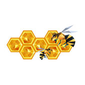 Origami honeycomb design and bees — Stock Vector