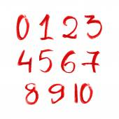 Red chalk numbers set — Stock Vector