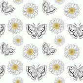 Seamless pattern with butterflyes and daisy — Stock Vector