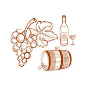 Hand drawn set with wine and grapes — Stock Vector