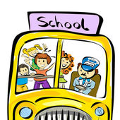Doodle school bus with kids — Stockvektor