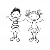 Hand drawn boy and girl — Stock Vector