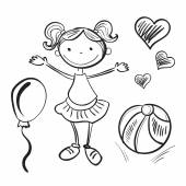 Hand drawn girl with toys — Stock Vector