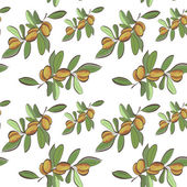 Seamless flat argan fruits pattern — Stock vektor