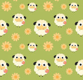 Seamless pattern with flat sheep — Stock Vector