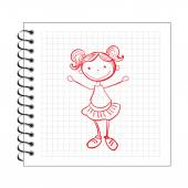 Doodle girl on notepad paper — Stock Vector