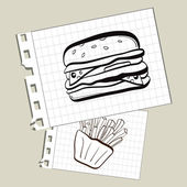 Burger and fries on notepad paper — Stock Vector