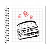 Doodle burger on notepad paper — Stock Vector