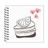 Cake slice on notebook paper — Stock Vector