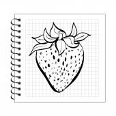 Doodle strawberry on spiral notepad paper — Stock Vector