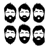 Hair styles and beards on hipster man — Stock Vector