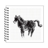 Doodle horse on notepad paper — Stock Vector