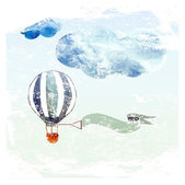 Clouds and blue balloon — Stock Vector