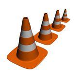 Orange road con rendered on white — Stock Photo