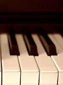 Close-up of piano keys. close frontal view. — Stock Photo