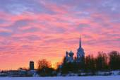 Nikolo Medvedsky Monastery in New Ladoga in winter suniset .  — Stock Photo