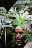 The warrior of a Papuan tribe of Yafi — Stock Photo