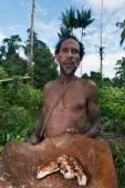 Korowai Kombai ( Kolufo) man  with saga worms — Stock Photo