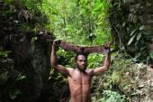 Yaffi man with bat — Stock Photo