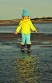 Little girl  on a sunset sandy autumn beach.  — Stock Photo