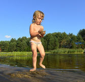 Little girl in water on sunny day — Stock Photo