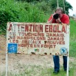 A sign warns visitors that area is a Ebola infected. — Stock Photo #73139979