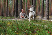 Man with the dog in the pine forest — Stock Photo