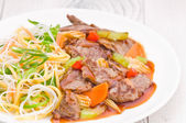 Cantonese Beef with Noodles — Stock Photo