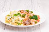 Noodles with Chicken Beef and Crab Stick — Stock Photo