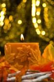 Orange candle in autumn Christmas setting — Stock Photo