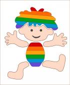 Cheerful, rainbow baby, stylized image — Stock Vector