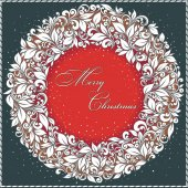 Vintage Christmas Card. Stylized pattern and snowflakes — Vector de stock
